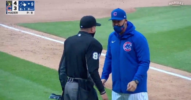 Cubs skipper David Ross was tossed for voicing his displeasure with a missed call made from behind the plate.