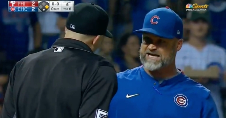David Ross was irked after Bryce Harper drew a walk on a borderline pitch, and Nic Lentz did not hesitate to eject the second-year skipper.