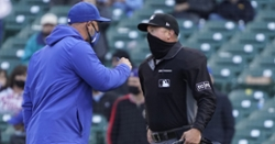 David Ross reacts to his ejection after blown call