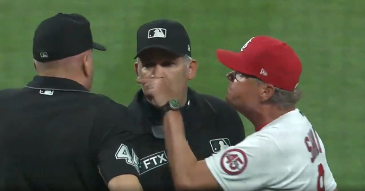 After taking umbrage with a questionable strike call, Cardinals manager Mike Shildt let home plate umpire Jeff Nelson hear about it.
