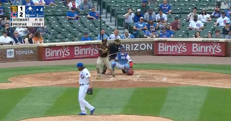 Cubs starter Kohl Stewart snagged a comebacker behind his back and made it look routine.