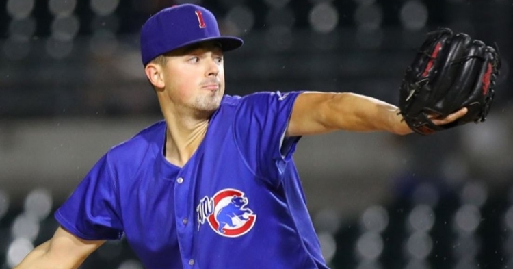 Swarmer gave up no-earned runs in the I-Cubs loss (Photo via Iowa Cubs)