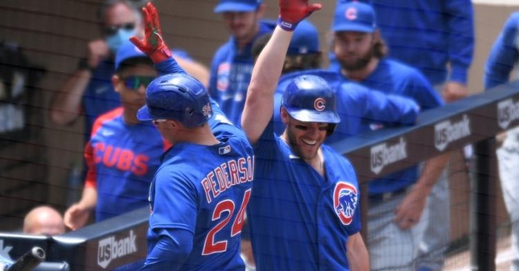 Wisdom and Pederson celebrate after a homer (Orlando Ramirez - USA Today Sports)