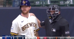 WATCH: Ryan Tepera throws behind Brandon Woodruff, sparks tense moment