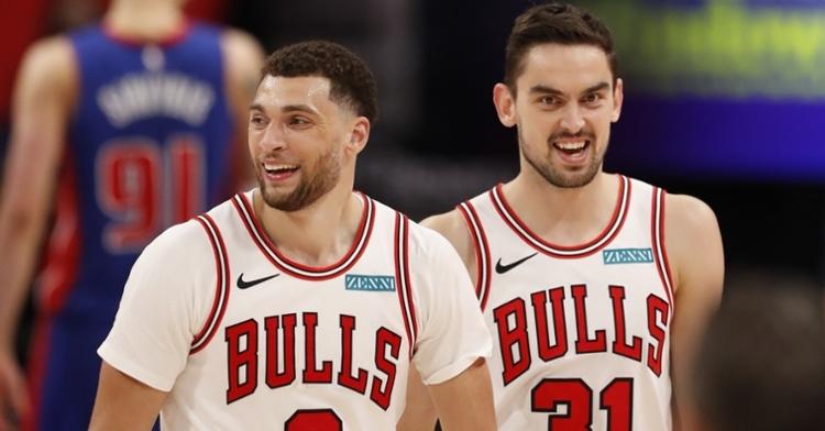 LaVine all smiles against the Pistons (Raj Mehta - USA Today Sports)