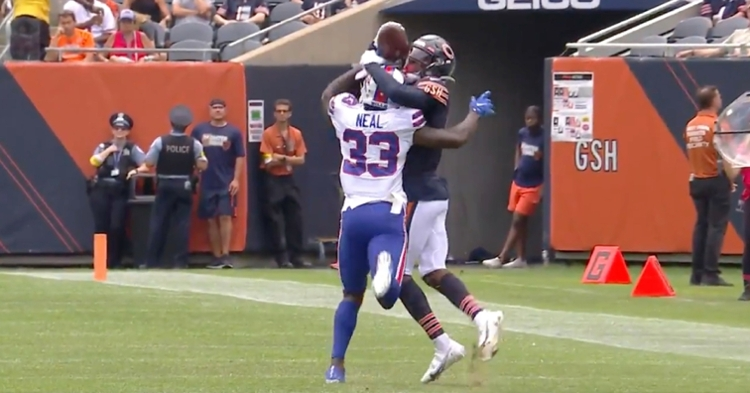 Bills cornerback Siran Neal could not prevent Bears wideout Rodney Adams from making a remarkable catch.