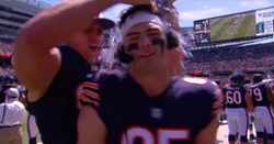 WATCH: Jimmy Graham douses Cole Kmet with iced water during live interview