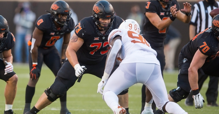 Former Oklahoma State offensive tackle Teven Jenkins was drafted by the Bears early in the second round. (Credit: Brett Rojo-USA TODAY Sports)