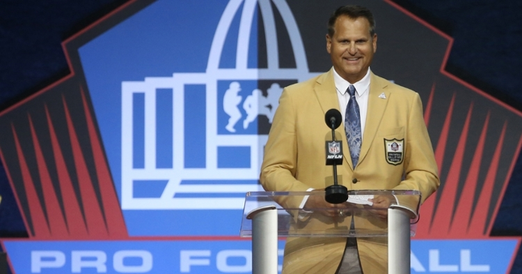 """Jim """"Jimbo"""" Covert received his gold jacket and gave his induction speech at Saturday's ceremony. (Credit: Charles LeClaire-USA TODAY Sports)"""