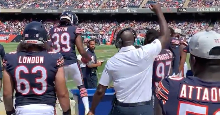 """Rookie Bears defensive back Dionte Ruffin dunked the pigskin into the """"Takeaway Bucket"""" after recovering a fumble."""