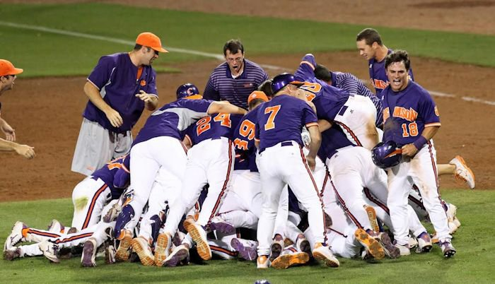 Tigers celebrate after taking down top-seeded Miami.