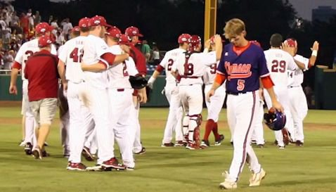 Mike Freeman walks off the field after losing to South Carolina in the 2010 College World Series.