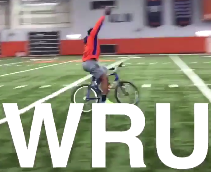 WATCH: Wilkins catches a pass while riding a bicycle