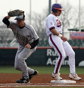Addison Johnson had two hits and three stolen bases against Wofford. (Photos: fotoman)
