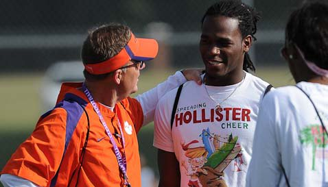 Dye is shown here at Dabo Swinney's camp with Chad Morris