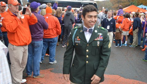 Rodriguez walking in TigerWalk before the game Saturday