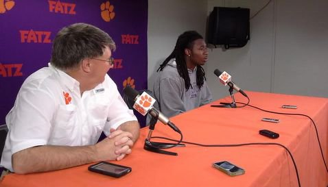 Watkins sits with Clemson football SID Tm Bourret at Friday's press conference