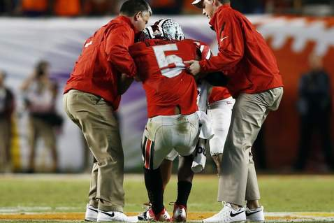 Clemson sacked Braxton Miller five times (Photo by Robert Mayer / USA Today)