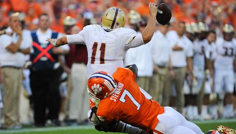 Tony Steward sacks Chase Rettig causing the fumble that put that game away for the Tigers.