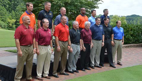 Coaches photo at ACC Football Kickoff on Monday. (TigerNet Staff)