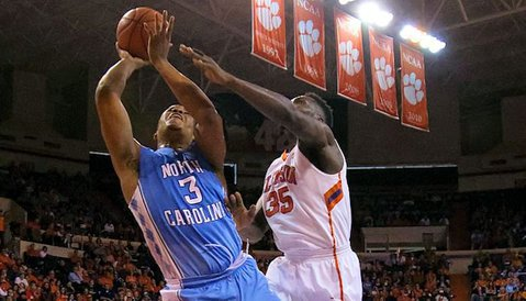 Landry Nnoko had just two points for Clemson in the loss (Photo by Joshua S. Kelly)