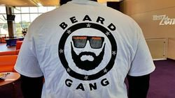 PHOTO: Kalon Davis shows off his custom Beard Gang t-shirt
