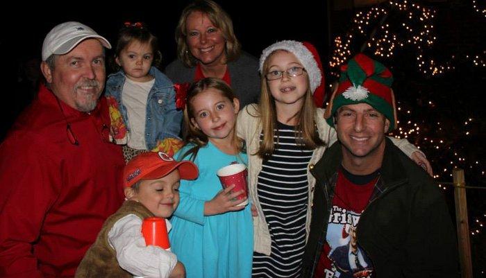 Clemson head coach Dabo Swinney with Dean Cox and his family