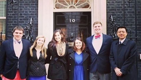 The group from Clemson poses in front of 10 Downing St. DeStefano is second from right