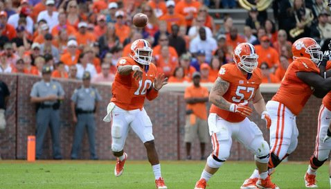 Guillermo, shown here protecting Tajh Boyd, hopes to play even more this season