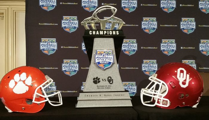 Oklahoma and Clemson will play Monday for the Russell Athletic Bowl Trophy