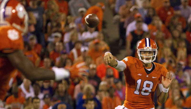Stoudt is responsible for two of Clemson's turnovers (Photo by Joshua S. Kelly)
