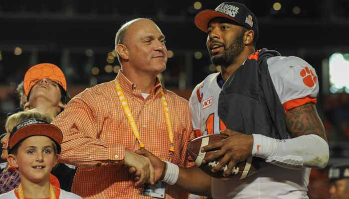 Clement's shakes the hand of Tajh Boyd after the thrilling Orange Bowl win.