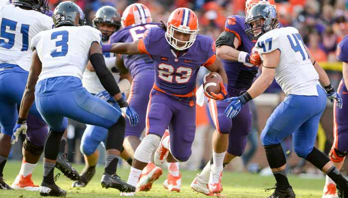 Dye's 124-yards rushing was the most by a Clemson RB this season.