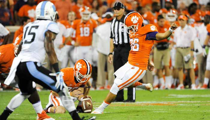 Ammon Lakip hits a field goal against UNC