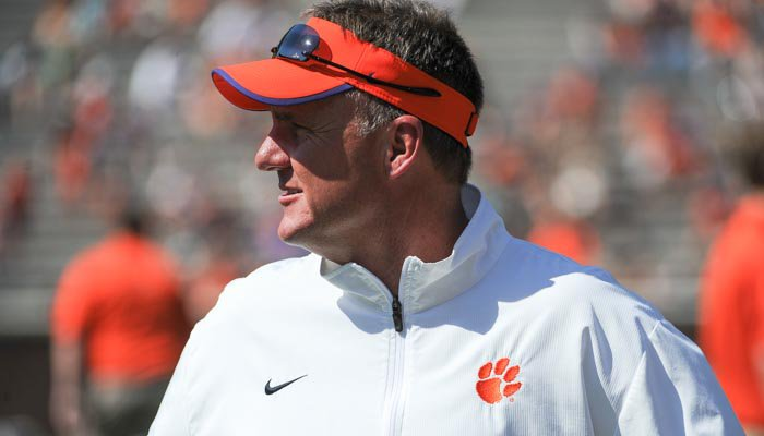 Chad Morris looks on during Clemson's spring game.