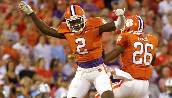 Garry Peters during first half action for Clemson's defense
