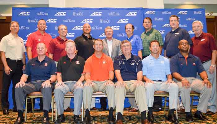 Dabo Swinney with the other ACC coaches at the ACC Football Kickoff on Monday.