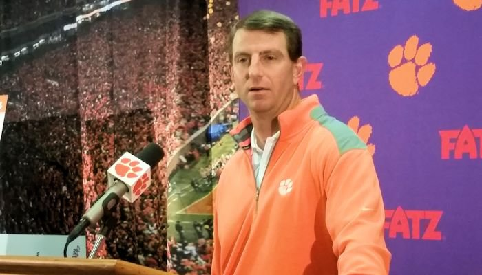 Clemson head coach Dabo Swinney during Tuesday's press conference