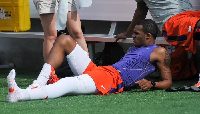 Deshaun Watson stretching out his repaired leg during practice.