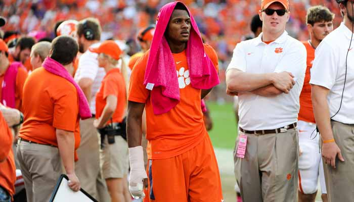 Deshaun Watson was in a cast during the second half Saturday