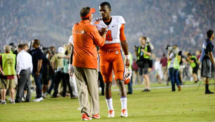Morris and Watson share some words after the loss to FSU.