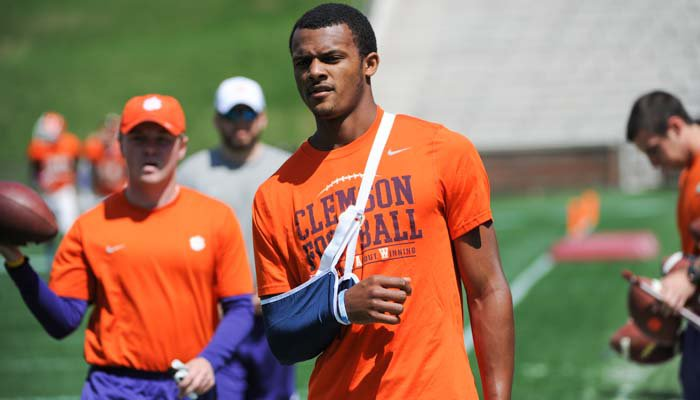 Watson had to sit out his first Clemson spring game due to injury.