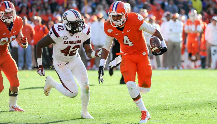 Watson threw for 269 yards and rushed for two scores Saturday