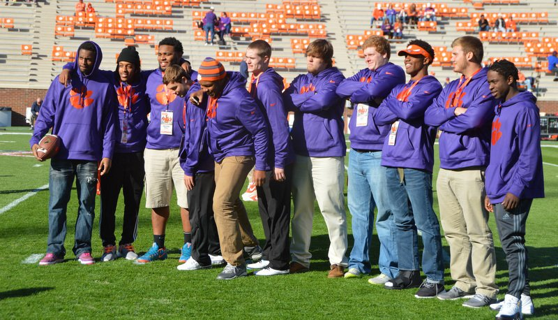 Clemson's 2015 commits and target Christian Wilkins pose last Saturday