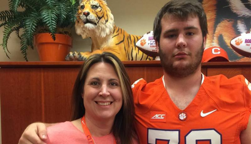 Pollard and his mother during his November visit to Clemson