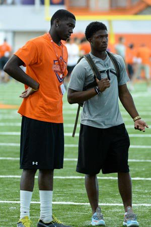Deon Cain (left) and McCloud (right) at Clemson's camp this summer.