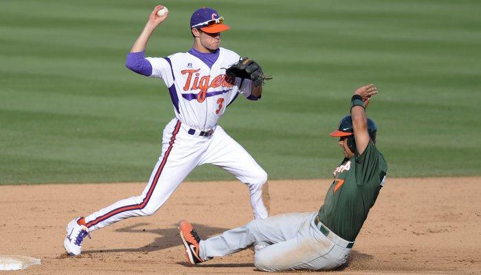 Clemson shortstop Tyler Krieger fires the ball to first last season (Photo by Liz Condo)