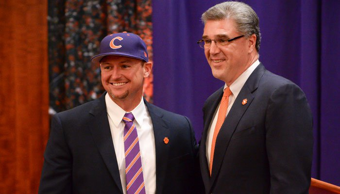 Monte Lee and Athletic Director Dan Radakovich at Lee's introductory press conference
