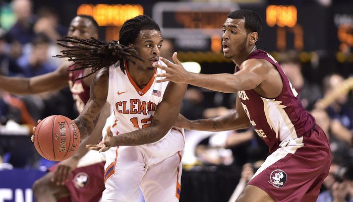 Hall scored a career-high 25 points in Clemson's loss (Photo by Bob Donnan)
