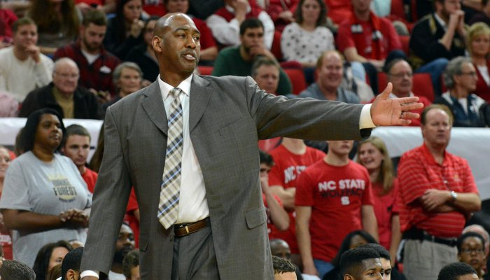 Danny Manning coaches at NC State earlier this season (Photo by Rob Kinnan)